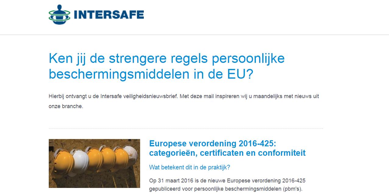 NIEUWSBRIEF: Ken jij de strengere regels persoonlijke beschermingsmiddelen in de EU?