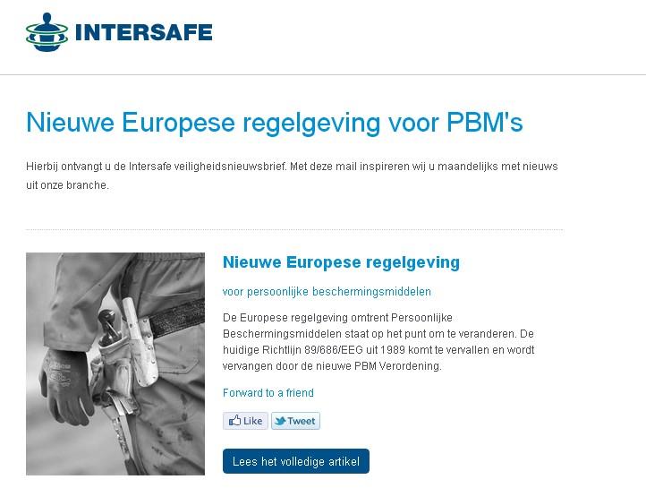 NIEUWSBRIEF: Nieuwe Europese regelgeving voor persoonlijke beschermingsmiddelen