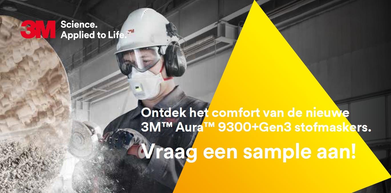 Ontdek het comfort van de nieuwe 3M™ Aura™ 9300+Gen3 stofmaskers