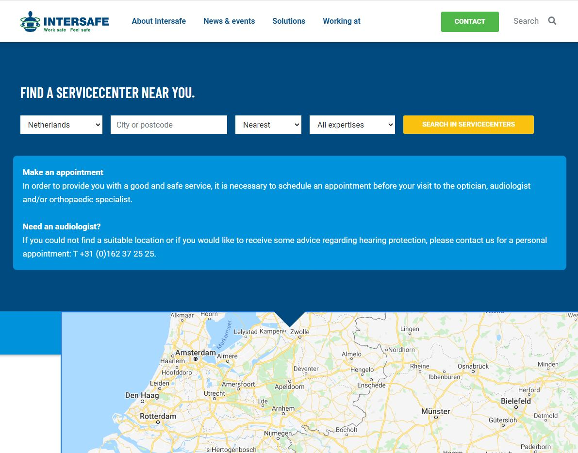 Screenshot of Intersafe servicecenters